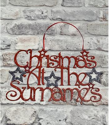 Christmas at the Surname's Hanging Sign with Stars and Decorative Font