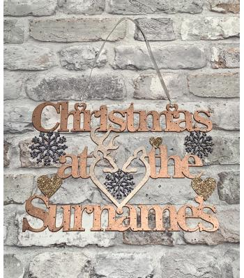 Christmas at the Surname's Hanging Sign with Snowflakes Stag and Deer Heads and Hearts