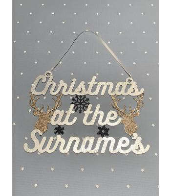 Christmas at the Surname's Hanging Sign with Snowflakes and Stag Heads