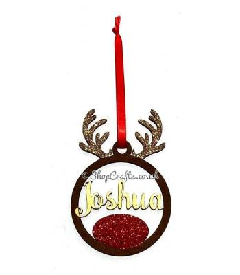 Reindeer Antlers Hanging Bauble with Name