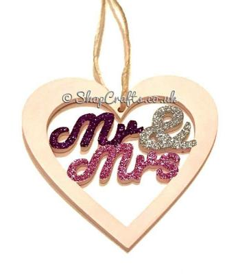 Mr & Mrs Heart Shape Bauble