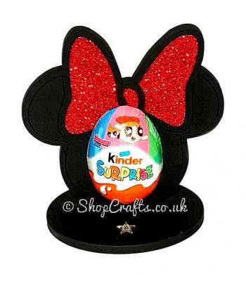 Minnie Mouse Shape Kinder Egg Holder - 6mm Thick on a Stand