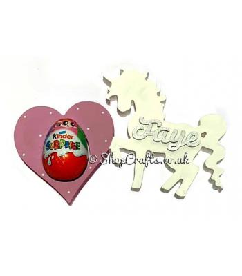 Unicorn and Heart Kinder Egg Holder - 18mm Thick Freestanding