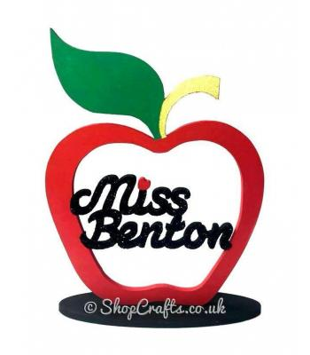 Personalised Teacher's Gift - Apple & Name on a Stand