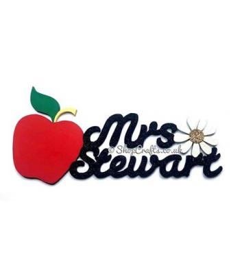 Personalised Teachers Hanging Sign with Apple and Flower