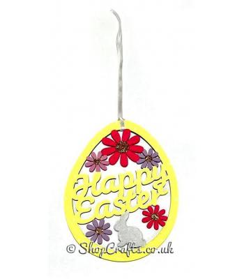 Happy Easter Egg Shape Hanging Sign Decoration