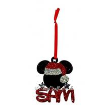 Mickey Mouse Head Shape Name Bauble with Santa Hat - Personalised