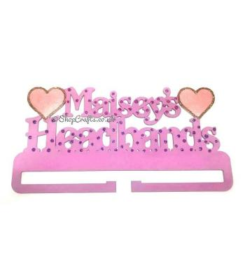 Headband Hanging Holder Personalised with Name and Hearts