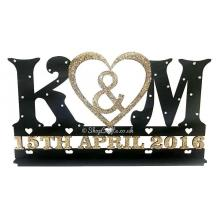 Wedding Sign on a stand with Initials and Date - Personalised