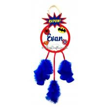 Superhero Hanging Dream Catcher with Soft Feathers- Personalised with Name