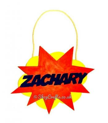 Comic Book Personalised Name Explosion Hanging Plaque