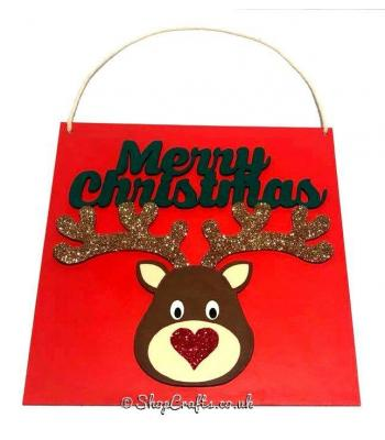Merry Christmas Reindeer Hanging Sign