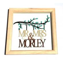 Wedding Box Frame - Branch with Mr and Mrs Surname - Personalised
