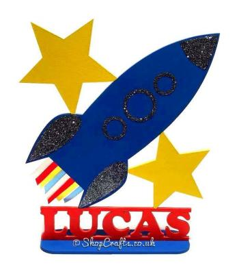 Rocket Shape Personalised with Name on a Stand