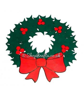 Holly and Bow Hanging Christmas Wreath Decoration