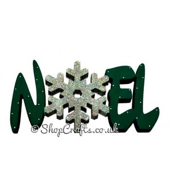 NOEL Decoration with Snowflake - 18mm Thick Freestanding