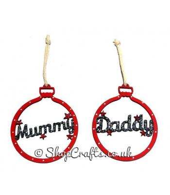 Mummy and Daddy - Pair of Star Detail Hanging Baubles *SPECIAL OFFER*