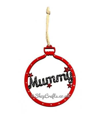 Family Name Christmas Tree Bauble with Star Detail