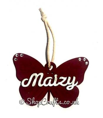 Hanging Butterfly Bauble Decoration with Name