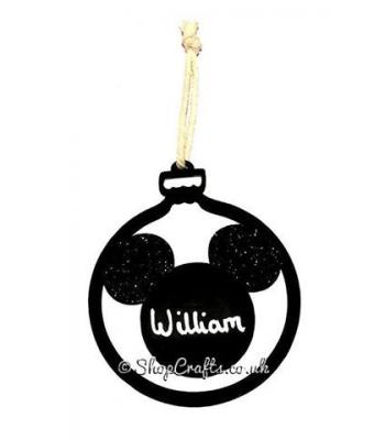 Handwritten Personalised Mickey Mouse Shape Name Bauble