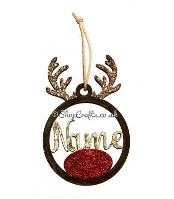 Reindeer Antlers Hanging Bauble with Name