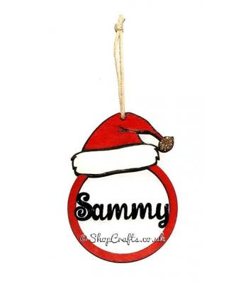 Santa Hat Hanging Bauble Decoration With Name