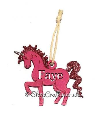 Unicorn Hanging Christmas Tree Bauble with Name