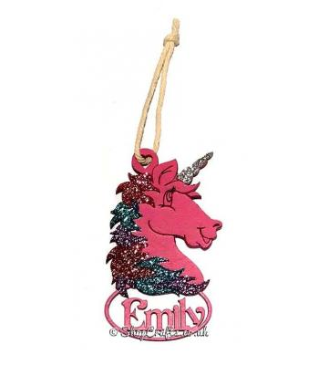 Unicorn Head Hanging Bauble with Name