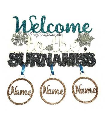 Welcome To The Surnames Hanging Sign Decoration with Name Baubles