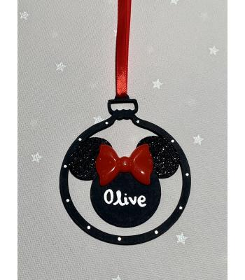 Handwritten Personalised Minnie Mouse Name Bauble with Bow