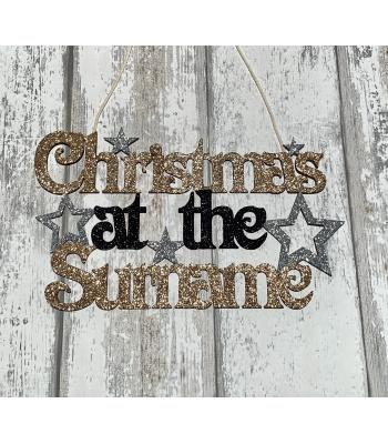 Christmas at the Surname's Hanging Sign with Stars
