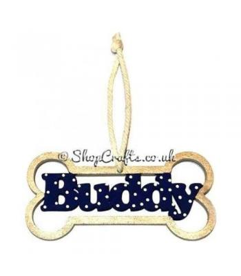 Dog Bone Personalised Pet Bauble with Name
