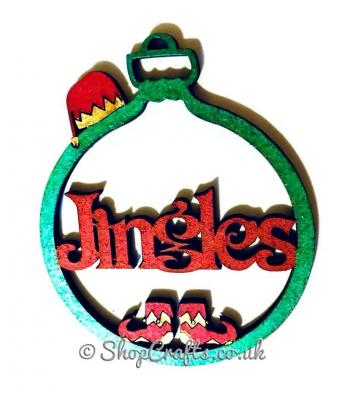 Elf themed personalised christmas tree bauble.