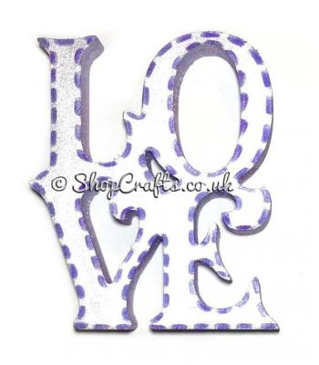 "Freestanding 18mm thick ""LOVE"" decoration."