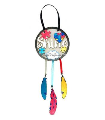 Autism awareness dream catcher with hanging feathers - personalised version.