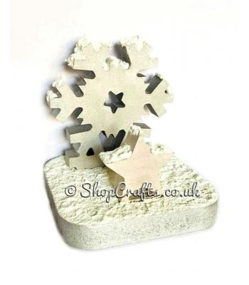 18mm thick freestanding stocking hanger - snowflake.