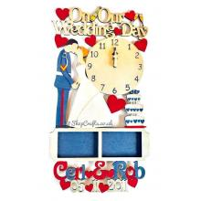 Wedding details keepsake - personalised clock and frame design.