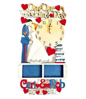 Wedding details keepsake - personalised clock and frame design.