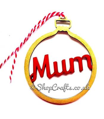Personalised family name christmas tree bauble - plain (no stars) version.