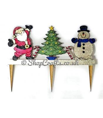 Reusable Christmas cake topper - Santa, snowman and Christmas tree version *OTHER DESIGNS AVAILABLE*