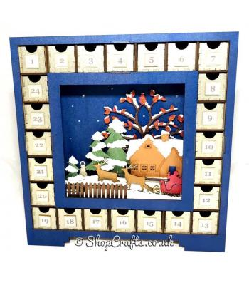 Reusable advent calendar drawers with 3D sleigh in the snow scene - OTHER DESIGNS AVAILABLE