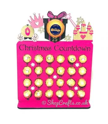 Reusable 6mm thick Princess themed chocolate advent calendar - OTHER DESIGNS AVAILABLE.
