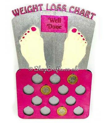 "Reusable 14lb weight loss ""£'s for lbs"" plaque - Scales design."