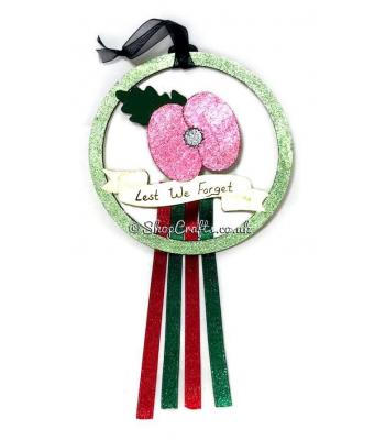 Hanging mini dream catcher - Remembrance Poppy version.
