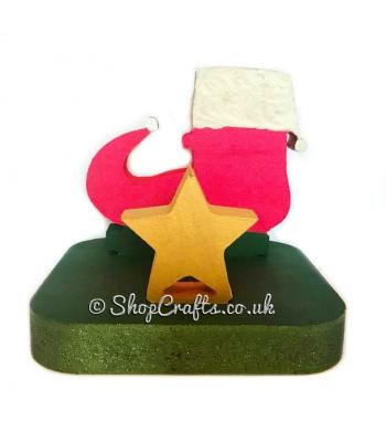 18mm thick freestanding stocking hanger - Elf boot.
