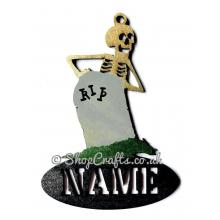 Skeleton and gravestone shaped personalised Halloween hanging decoration/tag.