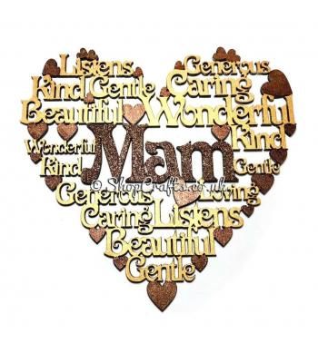 Word collage heart plaque - female version.