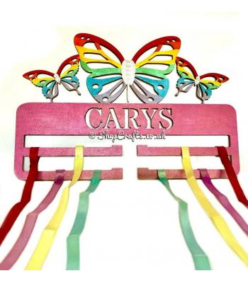Hanging Bow holder with butterfly detail.