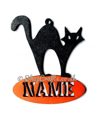 Cat shaped personalised Halloween hanging decoration/tag.