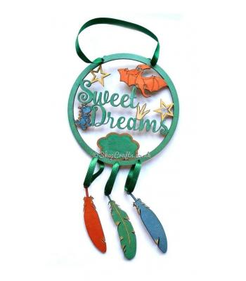 'Sweet Dreams' Hanging Dream catcher - Dinosaur theme.